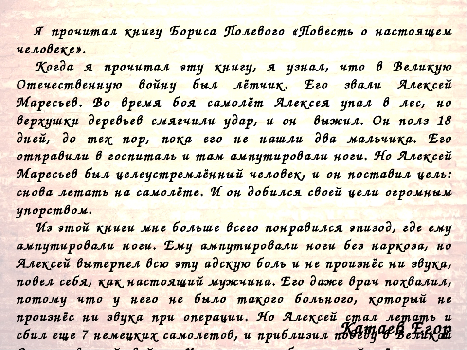 Катаев Егор Я прочитал книгу Бориса Полевого «Повесть о настоящем человеке»....