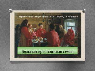 Большая крестьянская семья Теоретический лицей имени Н. К. Георгиу, г. Кишинёв