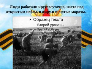 Люди работали круглосуточно, часто под открытым небом, в жару и в лютые моро