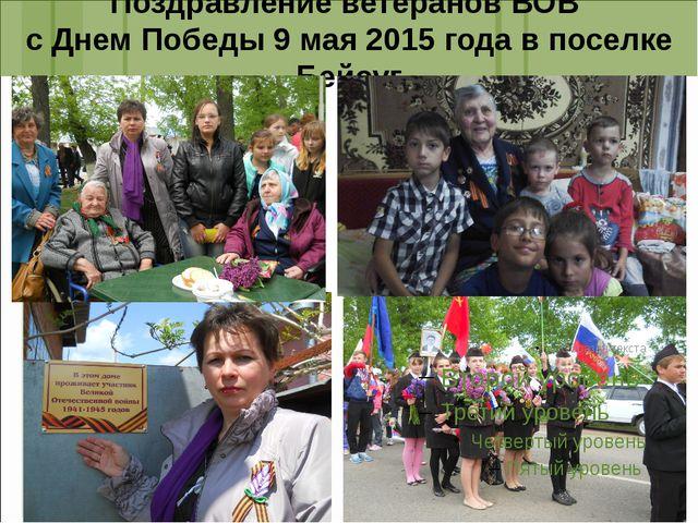 Поздравление ветеранов ВОВ с Днем Победы 9 мая 2015 года в поселке Бейсуг
