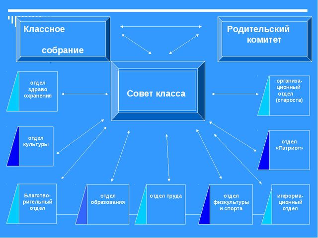 Совет класса Классное собрание Родительский комитет отдел образования отдел...