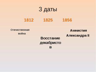 3 даты 181218251856 Отечественная война Амнистия Александра II Во