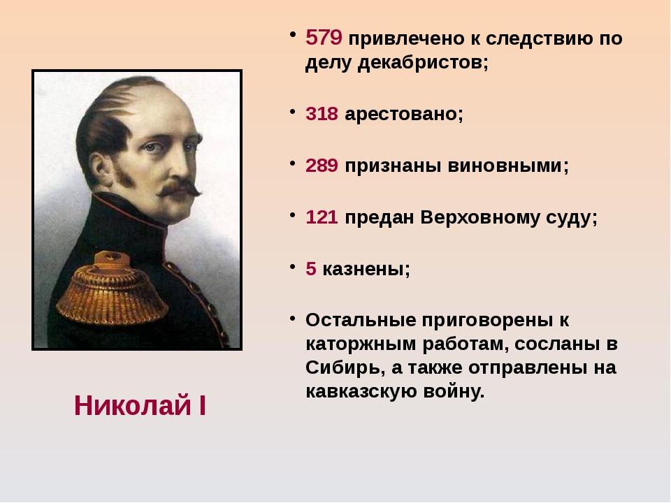Николай I 579 привлечено к следствию по делу декабристов; 318 арестовано; 289...
