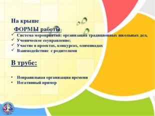 На крыше ФОРМЫ работы: Система мероприятий: организация традиционных школьны
