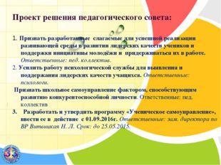 Проект решения педагогического совета: 1. Признать разработанные слагаемые д