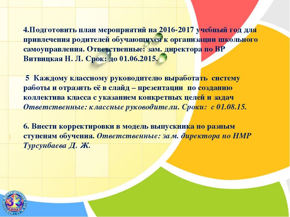 4.Подготовить план мероприятий на 2016-2017 учебный год для привлечения роди...