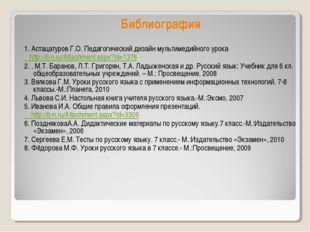 Библиография 1. Астацатуров Г.О. Педагогический дизайн мультимедийного урока
