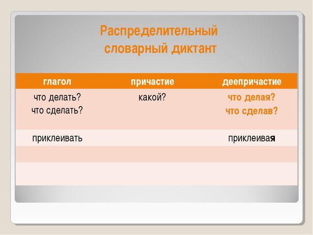 Распределительный словарный диктант глаголпричастиедеепричастие что делать?...