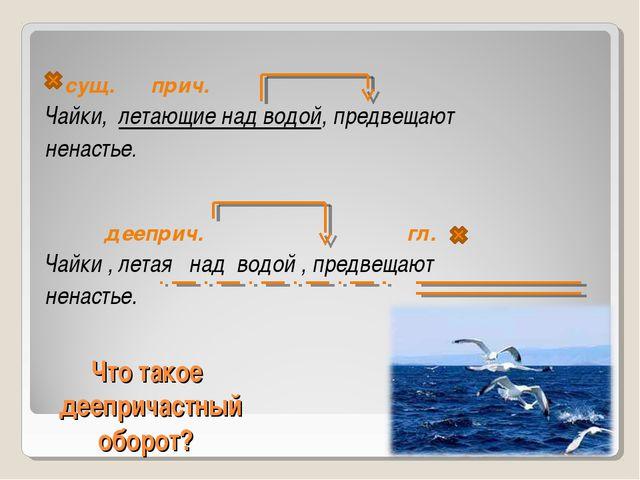 Что такое деепричастный оборот? сущ. прич. Чайки, летающие над водой, предве...