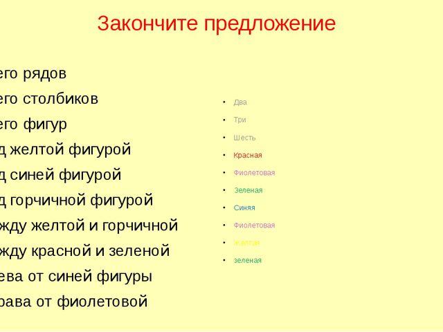 Закончите предложение Всего рядов Всего столбиков Всего фигур Под желтой фигу...