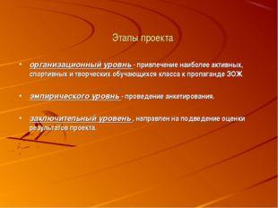 Этапы проекта организационный уровнь - привлечение наиболее активных, спортив