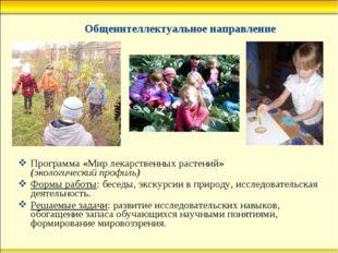 Общеинтеллектуальное направление Программа «Мир лекарственных растений» (эко