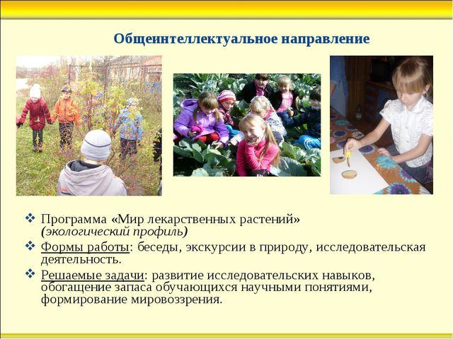 Общеинтеллектуальное направление Программа «Мир лекарственных растений» (эко...