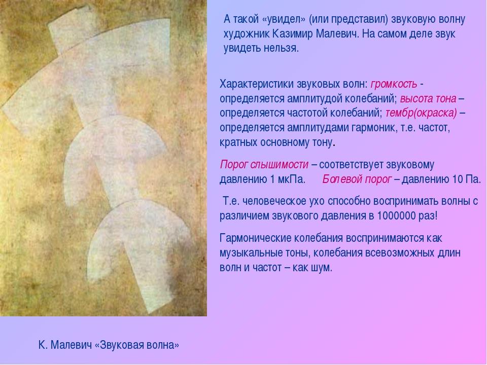 А такой «увидел» (или представил) звуковую волну художник Казимир Малевич. На...