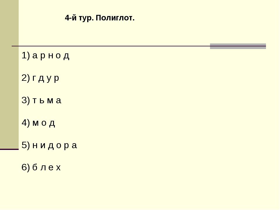4-й тур. Полиглот. 1) а р н о д 2) г д у р 3) т ь м а 4) м о д 5) н и д о р а...