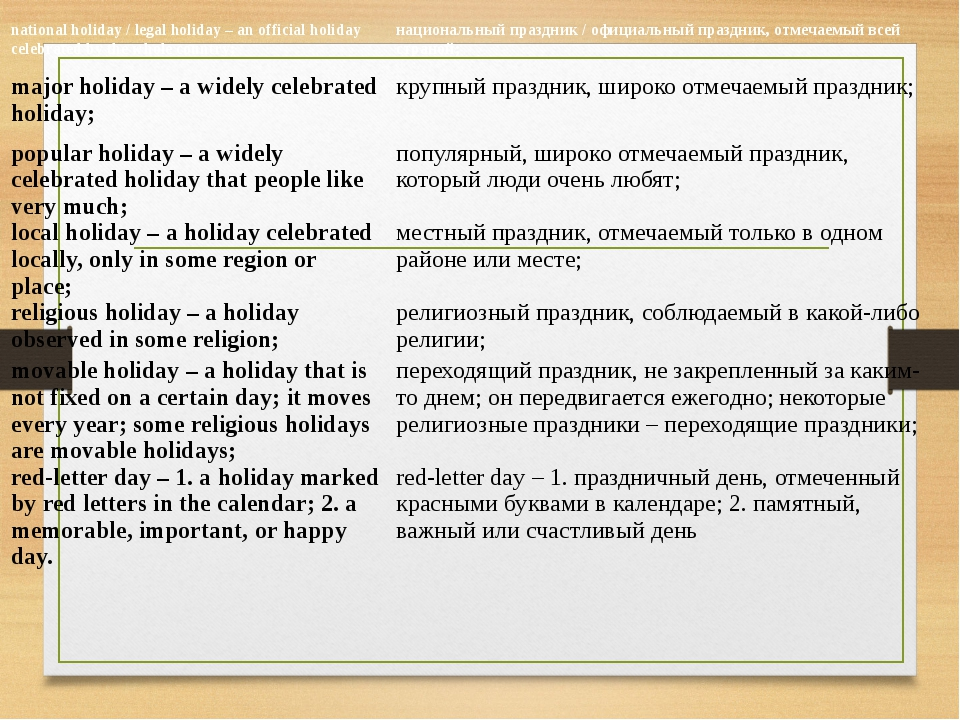 national holiday / legal holiday – an official holiday celebrated by the whol...