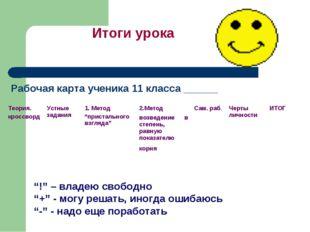 """Рабочая карта ученика 11 класса ______ Итоги урока """"!"""" – владею свободно """"+"""""""