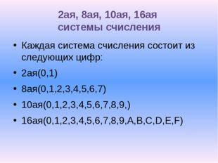 2ая, 8ая, 10ая, 16ая системы счисления Каждая система счисления состоит из сл