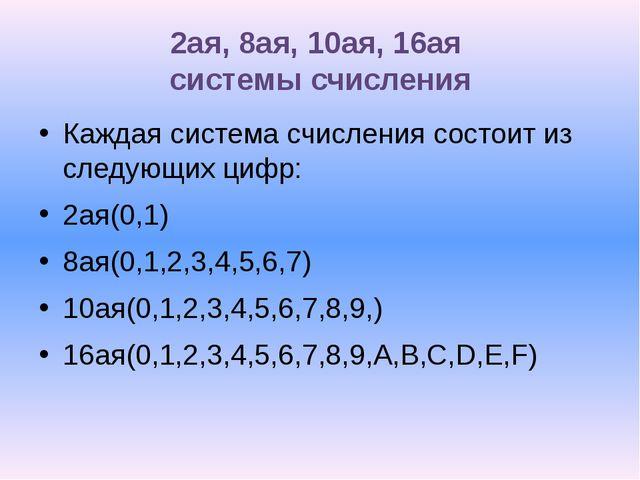 2ая, 8ая, 10ая, 16ая системы счисления Каждая система счисления состоит из сл...