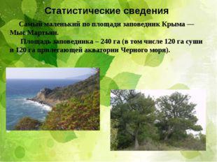 Статистические сведения Самый маленький по площади заповедник Крыма — Мыс Мар
