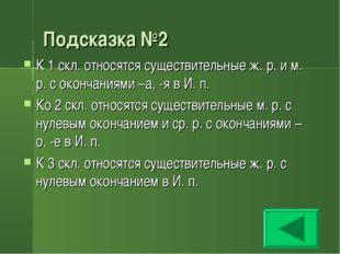 Подсказка №2 К 1 скл. относятся существительные ж. р. и м. р. с окончаниями –