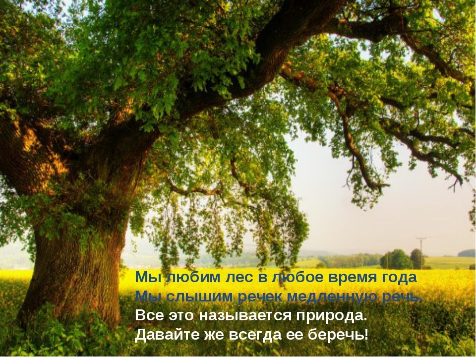 Мы любим лес в любое время года Мы слышим речек медленную речь. Все это назыв...