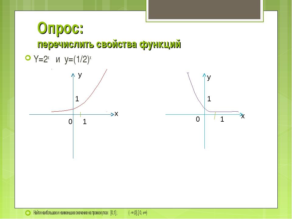 Опрос: перечислить свойства функций Y=2x и y=(1/2)x Найти наибольшее и наимен...