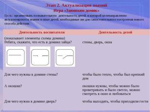 Этап 2. Актуализация знаний Игра «Заюшкин домик» Цель: организовать познават