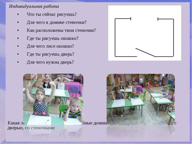 Индивидуальная работа •Что ты сейчас рисуешь? •Для чего в домике стеночки?...