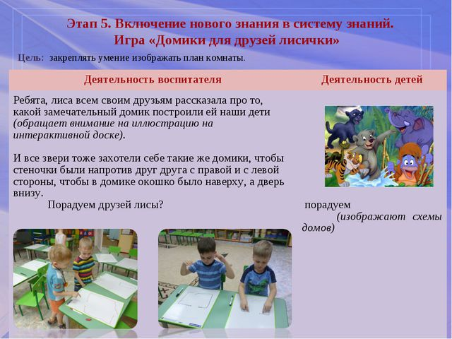 Этап 5. Включение нового знания в систему знаний. Игра «Домики для друзей лис...