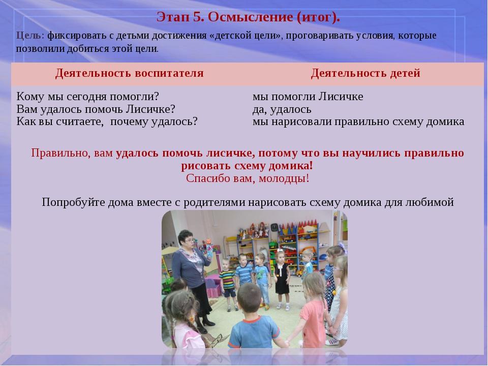 Этап 5. Осмысление (итог). Цель: фиксировать с детьми достижения «детской цел...
