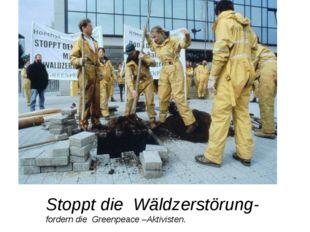 Stoppt die Wäldzerstörung-fordern die Greenpeace –Aktivisten.