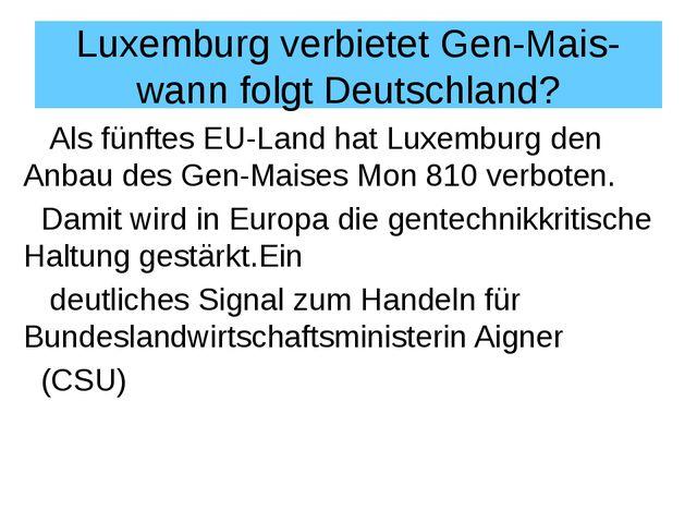 Luxemburg verbietet Gen-Mais- wann folgt Deutschland? Als fünftes EU-Land hat...