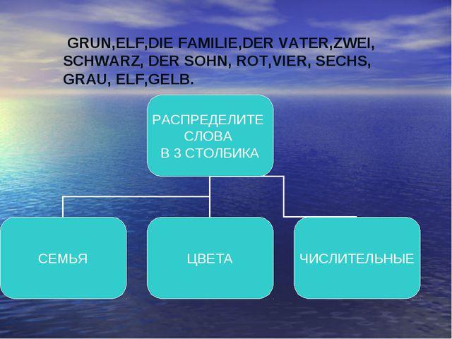 GRUN,ELF,DIE FAMILIE,DER VATER,ZWEI, SCHWARZ, DER SOHN, ROT,VIER, SECHS, GRA...