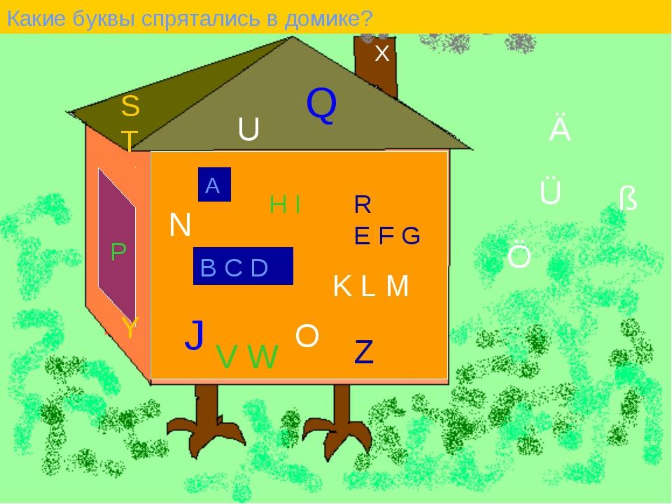 Какие буквы спрятались в домике? А B C D E F G H I J K L M N O P Q R S T U V...