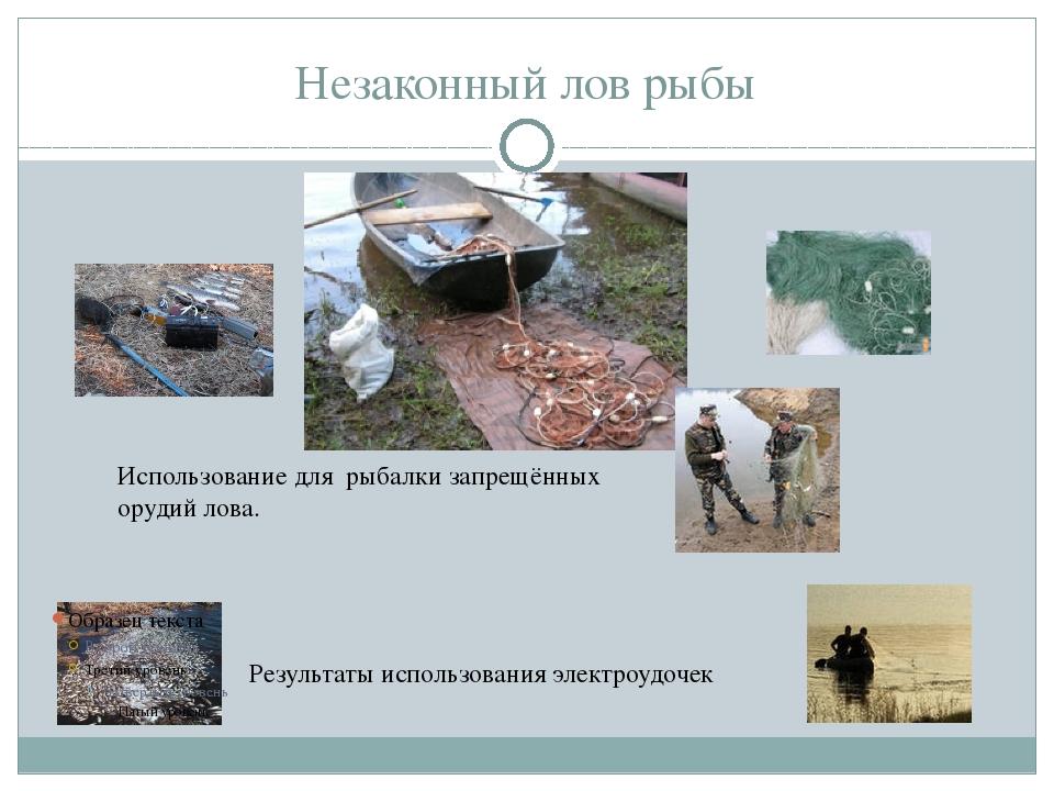 Незаконный лов рыбы Результаты использования электроудочек Использование для...
