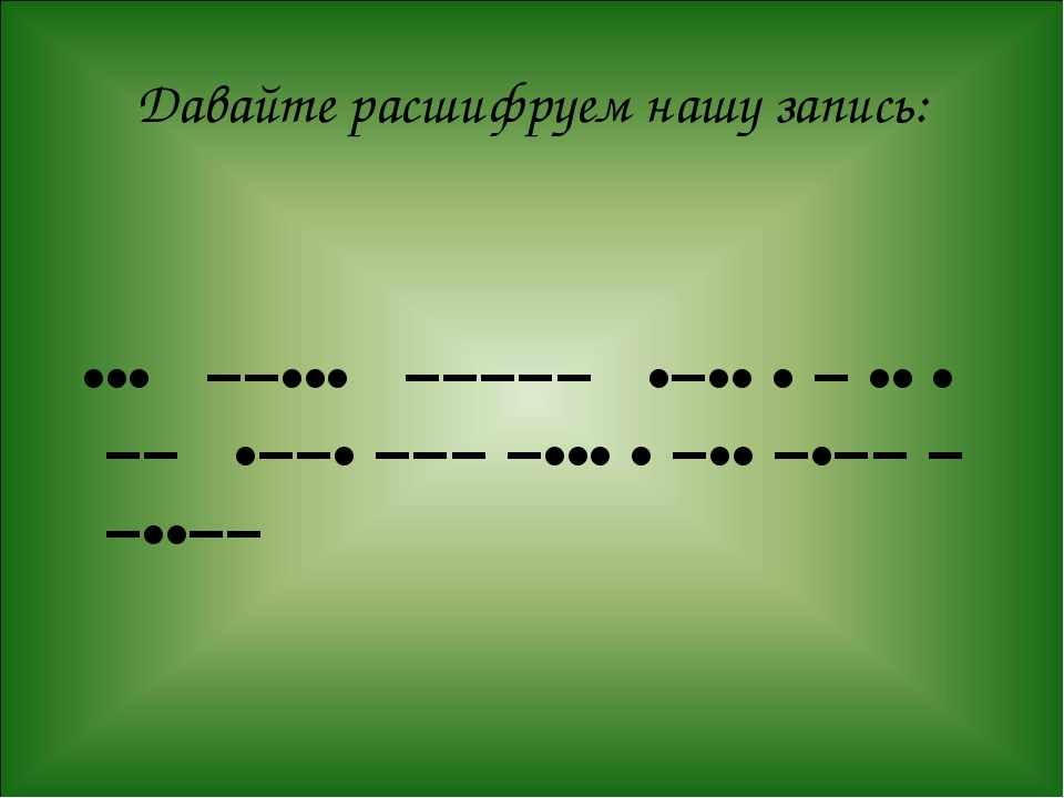Давайте расшифруем нашу запись: ••• −−••• −−−−− •−•• • − •• • −− •−−• −−− −••...