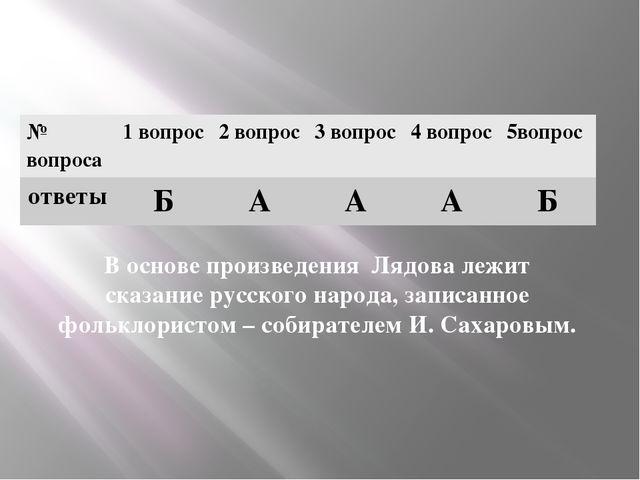 В основе произведения Лядова лежит сказание русского народа, записанное фоль...
