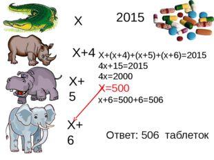 Х Х+4 Х+5 Х+6 Х+(х+4)+(х+5)+(х+6)=2015 4х+15=2015 4х=2000 Х=500 х+6=500+6=50
