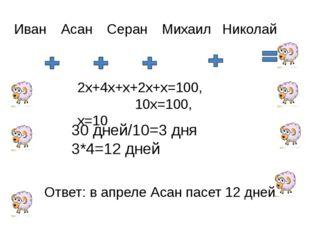 Иван Асан Серан Михаил Николай х 4х 2х х 2х 2х+4х+х+2х+х=100, 10х=100, х=10