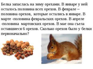 Белка запаслась на зиму орехами. В январе у ней осталось половина всех орехов