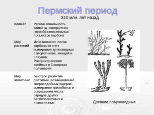 310 млн. лет назад Древние плауновидные КлиматРезкая зональность климата, за