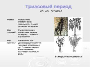 225 млн. лет назад Вымершие голосеменные КлиматОслабление климатической зона
