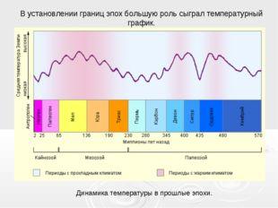 В установлении границ эпох большую роль сыграл температурный график. Динамика