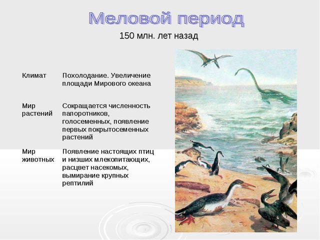 150 млн. лет назад КлиматПохолодание. Увеличение площади Мирового океана Мир...