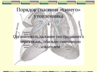 Порядок спасения «синего» утопленника 4 Организовать дыхание пострадавшего че