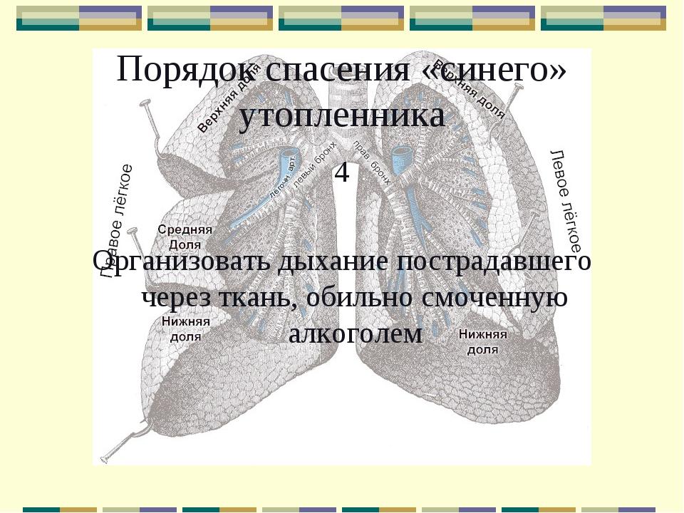 Порядок спасения «синего» утопленника 4 Организовать дыхание пострадавшего че...