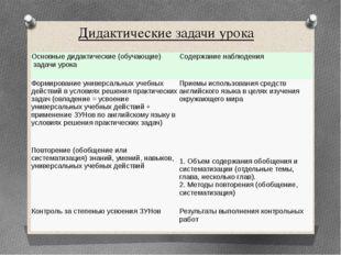 Дидактические задачи урока Основные дидактические (обучающие) задачи урока Со