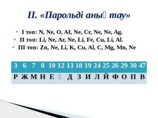 ІІ. «Парольді анықтау» І топ:N, Ne, O, AI, Ne, Cr, Ne, Ne, Ag.