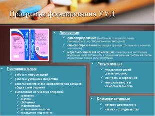 Программа формирования УУД Личностные самоопределение (внутренняя позиция шко